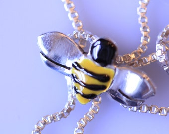 Hand painted Bumble Bee Sterling Silver Honey Bee