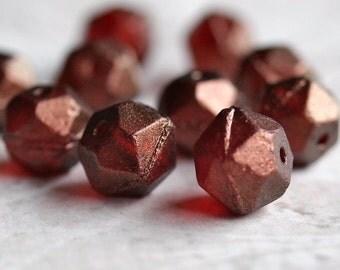 Burgundy 10mm Czech Glass English Cut Luster Nugget : 10 Marsala Beads