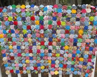 YoYo Quilt Cover Tablecloth Porch Swing Primitive Chair Folk Art CottageFarmhouse Cabin Mat Nursery Photo Prop