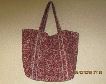 """Double Extra Large Durable 15.5"""" Grocery Shopper Reversible Market Tote Bag RUST Bandana  CLEARANCE 20% Off Was 19.50*"""