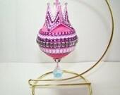 Peyote Beaded Ornament Pink Fuschia and white
