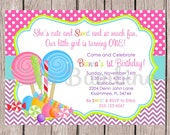 Lollipop Birthday Party Invitation / Sweet Shoppe / Candyland / PRINTABLE Candy Shop Invitation for ANY age / You Print