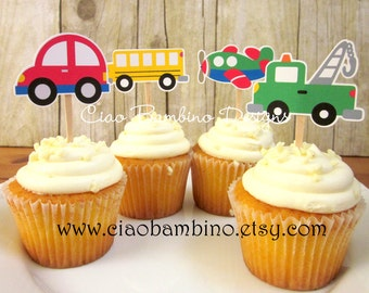 Transportation Cupcake Toppers / Cars, Truck, Train, Airplane & School Bus / On the Move Collection / Set of 12 Cupcake Toppers