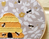 Honey Hive with Metallic Bees Hoop Art, Nursery Art, Nature Art, Housewarming, Hostess Gift, Gift Under 25