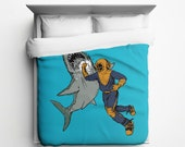 Shark Punch Duvet Cover, Multiple Color Options - Made in USA