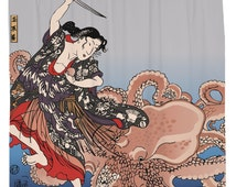 Battling the Octopus Shower Curtain Printed in USA