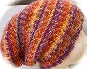 La Slouch Hat for Ladies, Shades of Rust, Burnt Orange, Plum, Maize, Aqua Print Acrylic Yarn, Hand Knit