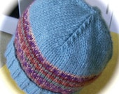 Lady's Hat, Hand Knit, Soft Teal with Multicolor Band, One Size Fits Most