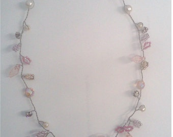 vintage Pink Beaded Twisted Wire Necklace