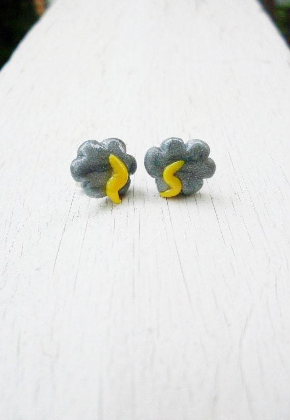 Stormy Lightning Cloud Hand-Sculpted Stud Earrings