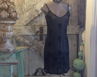 1990s sheer black cocktail dress 90s nude illusion beaded dress size small sexy Vintage dress