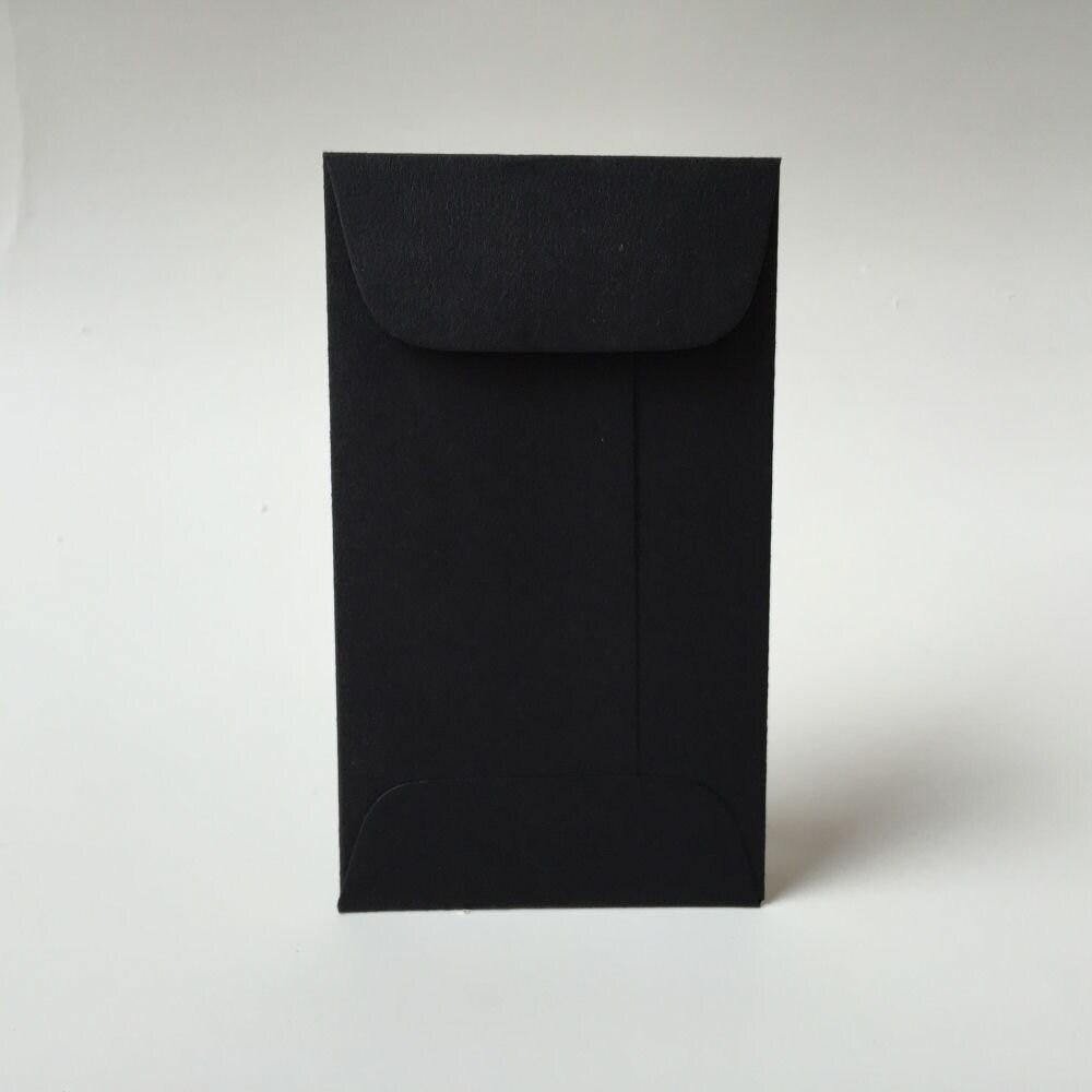 25 Black Mini Envelopes with Flap Business Card Envelopes