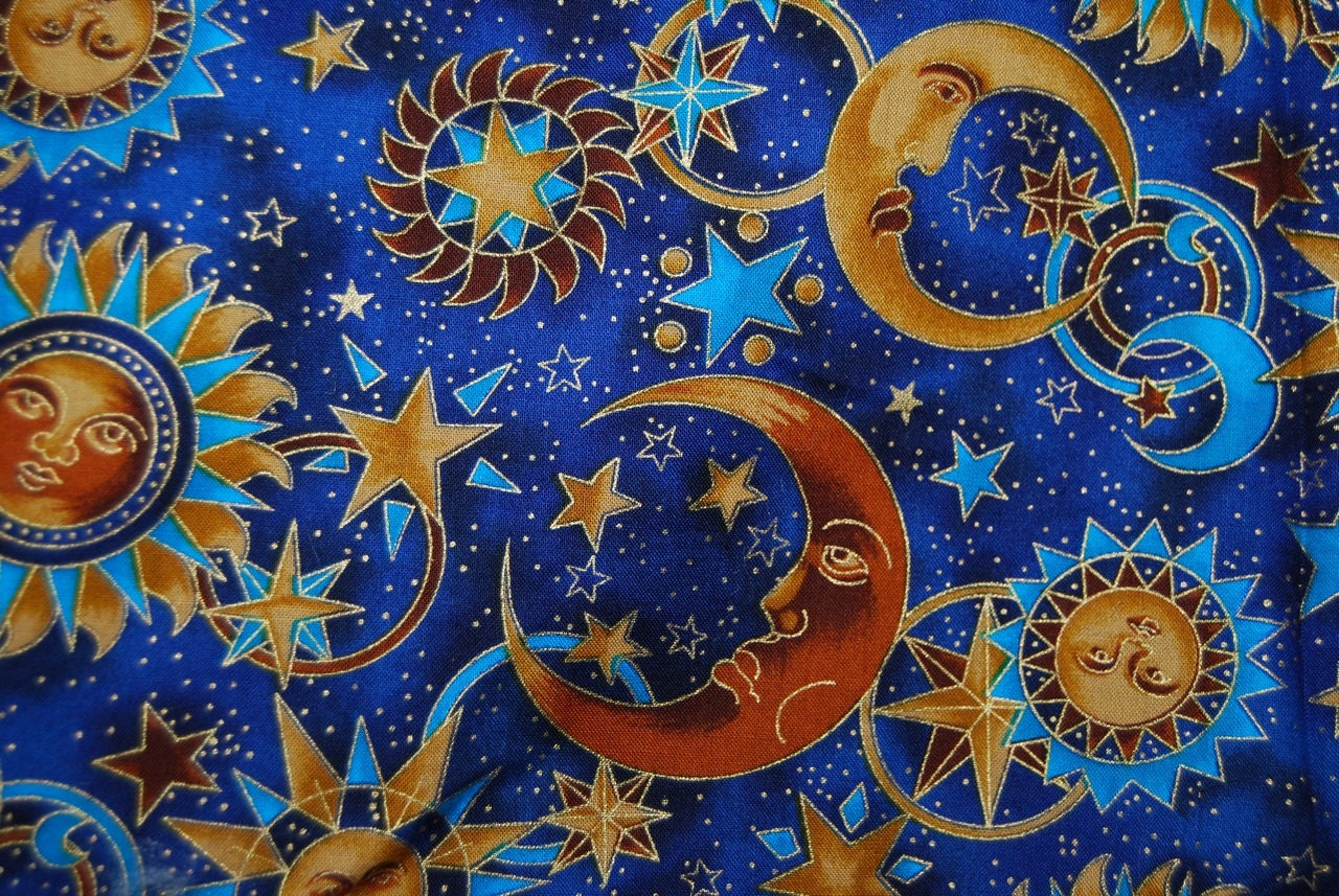 CELESTIAL Moon And Stars Solstice Blue And Golden Quilter