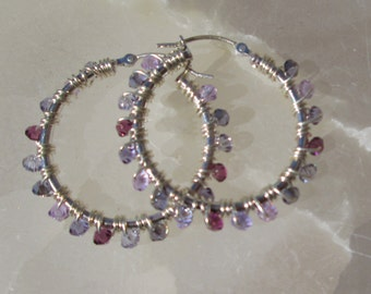 Largest Gem Hoop Earrings in Purple