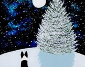 Border Collie dog Winter Art PRINT by Todd Young painting FALLING SNOW