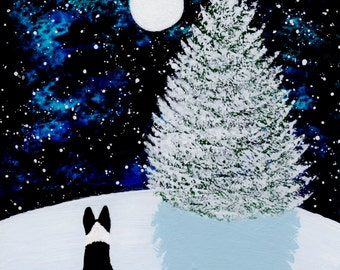Border Collie dog Winter LARGE Art Print by Todd Young painting FALLING SNOW