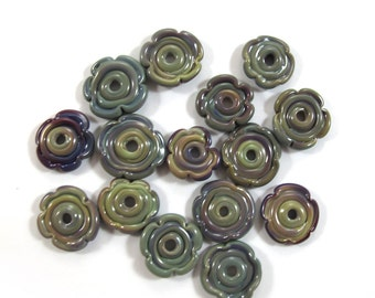 Lampwork Beads, Lampwork beads set, Lampwork Glass Beads,  flowers, multicolor (15) SRA