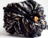 Handspun Yarn thick and thin Black Gold 58 yards hand dyed merino wool blue yarn waldorf doll hair knitting crochet supplies