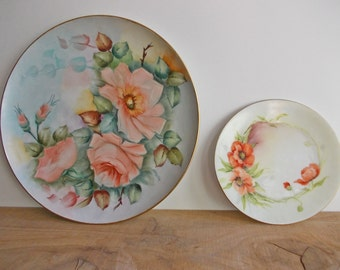 Pretty Floral Art, Decorative Wall Plates. Hand Painted Flowers, Red Poppies and Soft Pink Roses. Vintage Bavarian Porcelain Plates.