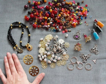Huge Bead lot, destash lot, vintage and new beads, filigree, vintage jewelry, angels, gold