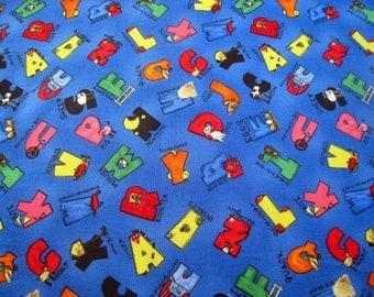 Alphabet Animal Fabric - Cotton ABC Novelty Design Children Blue Half yard