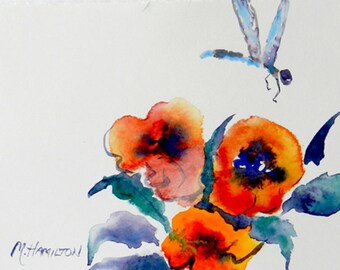 Dragonfly Art, Insect Art, Flower Garden Art,  Watercolor Original Painting