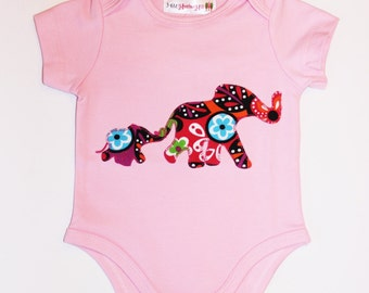 Baby Girl Onesie, Applique Elephants, you choose size 6/9, 9/12, 12/18, 18/24 months