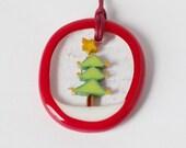 Christmas Tree Murrini murrine millefiory Tree Ornament pendant