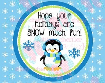 Penguin Tag. Winter Wonderland. Snow much fun. Gift Tag. Printable. Favor Tag. Square Tag. Printable Tag. Instant Download. PDF File