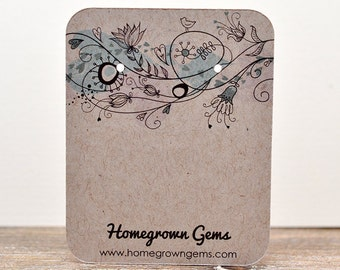 Custom Earring Cards Customized Personalized Jewelry Display Cards - Drawn Flowers Birds Hearts Floral Top