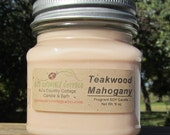 TEAKWOOD MAHOGANY SOY Candle - New - woods, orange, patchouli, sandalwood, leather, amber, spice, moss