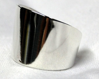 High Polish Sterling Spoon Ring, Size 6