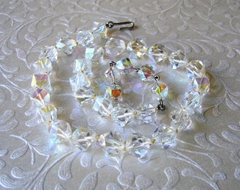 1950s Vintage Crystal Necklace Hexagon Step Cut 50s Beaded Choker Chunky Nugget Wedding Bridal Prom Formal Ballroom Pageant Bohemian Chic