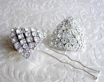 Vintage Rhinestone Jewelry Bridal Hair Comb Matching Dress Clip 2 Pc Demi Parure Set Wedding Formal Ballroom Pageant Jewelry Hair Accessory
