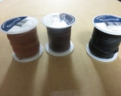 3 Spools Deerskin Cord Lace Leather String Each 50 Feet 1/8 Inch Saddle Tan, Black, Chocolate