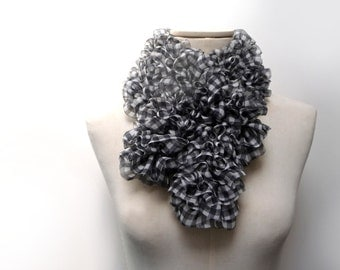 Hand Knitted Fabric Scarf - Ruffled Black and White Vichy Gingham Scarflette - Vichy Checkered Fabric - Boho Chic Neckwarmer