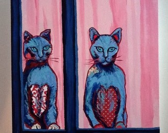 Pair of Cats Original Painting Collage