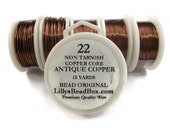 Antique Copper Wire - 22 Gauge Round Wire for Making Jewlery, Non Tarnish Wire, Wire Wrapping Supplies