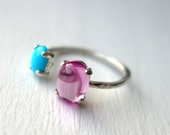 Sterling Silver Dual Stone RIng- Pink Sapphire and Turquoise