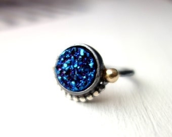 Handmade Royal Druzy Ring- Sterling Silver and 14k Gold