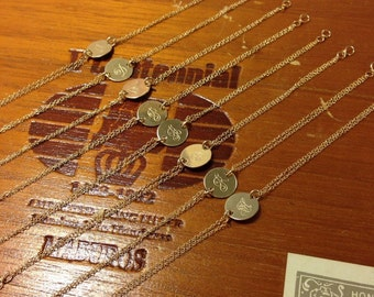 Gold Initial Bracelet - 14k Gold-Fill - Hand-Stamped Disc - Fancy Script - Personalized Monogram