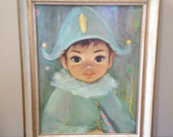 Big Eye Framed Art  JAQUE by Mimi Sherle Vintage 1960's Print in Wood Frame 13 x 16 Framed Picture