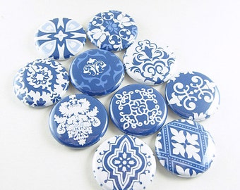 10 Cute Fridge Magnets, Pin Back Buttons, Wine Charms, Delft, Kitchen Decor, Gift for Her, Keychain, Spring, Blue White Geometric Set, 1260