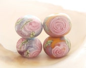 4 Etched Handmade Lampwork Beads