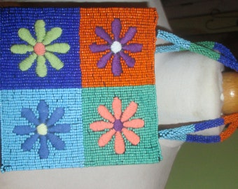 Adorable Vibrant Beaded Floral Embroidery Box Purse