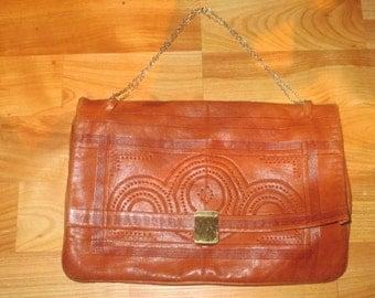 Vintage Handmade Perforated Tooled Embellished Leather Purse