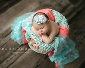 Baby Headband Aqua and white Ruffles and Rosette headband from All Things Ribbon