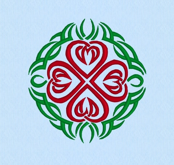 Celtic Hearts Tribal Tattoo Machine Embroidery Design File