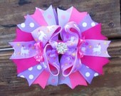 Gift for Girls Gift for Kids Purple and Pink Unicorn Print Layered Hair Bow on French Barrette Clip with Rhinestone Button for Girls
