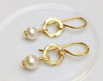 Cafe Earrings: White Freshwater Pearl and 24kt Gold-Bond over Copper